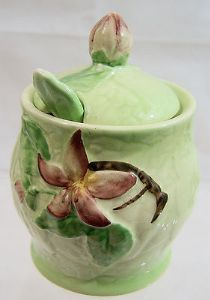 Carlton Ware Apple Blossom Preserve Pot complete with Stand & Spoon - 1940s